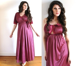 1970s Nightgown and Peignoir Set / 70s Lingerie / 1970s Merlot Burgundy Nightgown