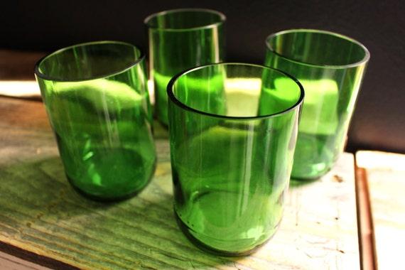 Green Glass Wine Bottle Rocks Short Wine Punt Drinking Glasses - Set of 4
