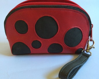Leather Zip Pouch  Finger Strap One of a Kind