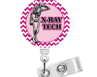 X-Ray Tech Skeleton Chevron - Xray Technician Badge Holder - Xray Badges - Gifts for Her - Gifts for Him - The Badge Shack