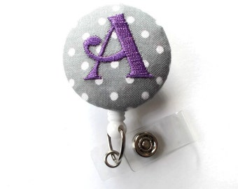 Monogrammed Initial - ID Badge Holder - Badge Reel - Name Badge Holder - Gift for Her - Nursing Badge - Nurse Badge Holder - Embroidered ID