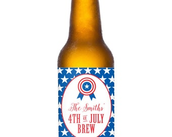 4th of July Brew Beer Bottle Labels - 100% Waterproof, Personalized Labels - Printable file also available