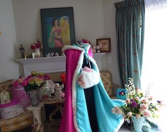 Mermaid Princess Bridal cape 52 inch Aqua-Blue / Hot Pink Satin wedding cloak with fur trim Handmade in USA