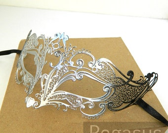 Silver Black Fox Spirit Venetian Filigree Scroll work Metal Masquerade Mask (5 color options) Lightweight Laser Cut flexible