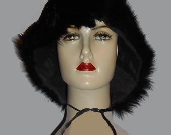 Women's 1960's Fur Hat w/ties Sz S
