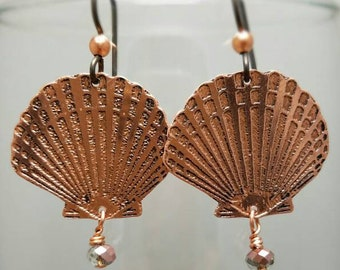 Etched Copper Seashell Earrings