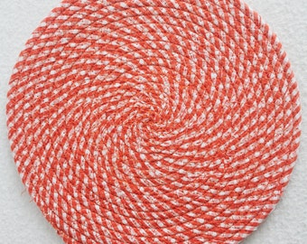 Fabric Coiled Mat / Mug Rug / Trivet / Hot Pad / Orange Gingham Round by PrairieThreads