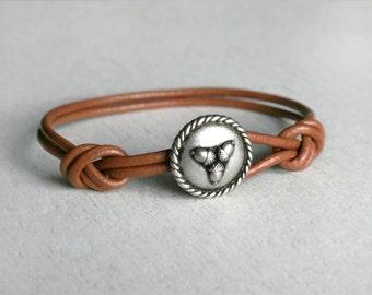 Acorn Bracelet, Acorn Leather Bracelet, Oak Bracelet (Many Colors)