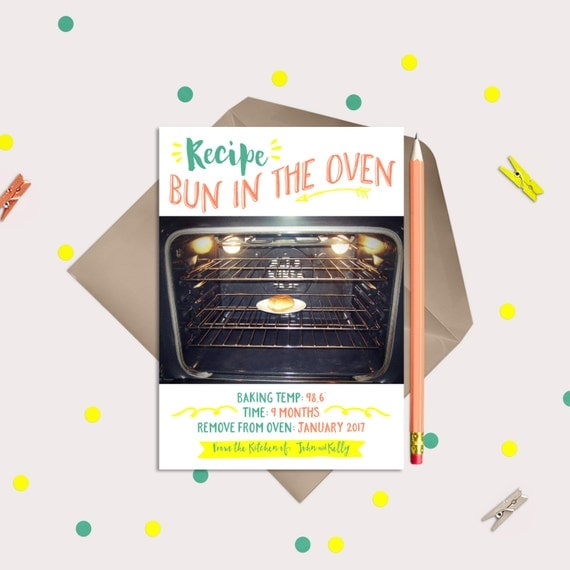 A BUN in the OVEN RECIPE - Pregnancy Announcement - New Baby on the Way - Single or Twins
