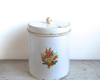 Vintage Tin Canister Floral Decal, White Distressed Wood Knob Shabby Cottage Country Kitchen
