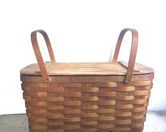 Vintage Picnic Basket Simple Wood Mid Century Bent Wood Hnadles