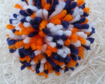 Party Supplies, Party Decor, Baby Shower, Pom Pom, Party Decorations, Navy Orange and White Pom Pom, Yarn Ball, Blue, Accessory Ball