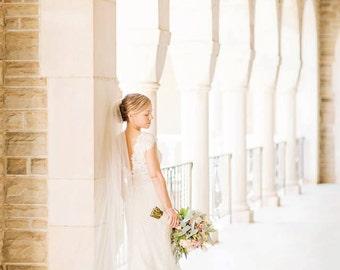 chapel length veil with Alencon lace trim - Sarah