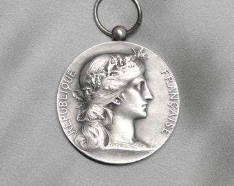 Antique French Art Medal Silver Plated Bronze Republique Française