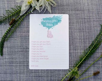 Printable Pink Elephant Baby Shower Activity- Wishes for Baby