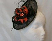 Black and Orange Upback Saucer Sinamay Loop Curl Feather & Pearl Fascinator Hat- Made to Order - Royal Ascot -Derby