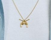 Gold Neck Chain . CROSSED GUNS Men's Chain Necklace Stampunk Simple Minimalist Jewellery Unisex Brass Men Boyfriend Christmas Gift