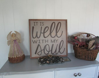 Brown Inspirational Bible Sign | It is Well with my Soul | Distressed Wood Sign | Bible Verse Art |  Hanging Wood Sign