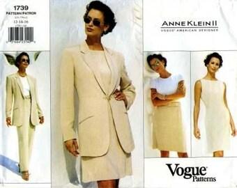 Vogue 1739 Anne Klein designer jacket, dress, skirt, and pants UNCUT