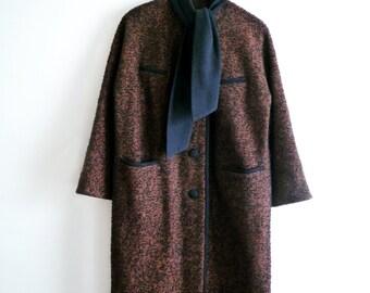 1960s Wool Tweed Coat, Black Brown Coat, Medium Wool Coat, Winter Womens Coat, Large Wool Coat, SALE
