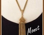 Vintage Monet Tassel Necklace, Gold Tone, Double Chain, Casual