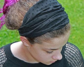 Lightweight Headscarf Black Modest Headcovering Alopecia Headcover Hair Loss Head Scarf Black Headwrap (#2710) S M L X