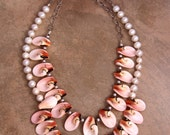 Special Offer: TWO Pink Shell and Pearl Necklaces Delicate Luahanus Shell Petals and Small Round Pearls Beach Bridal Jewelry