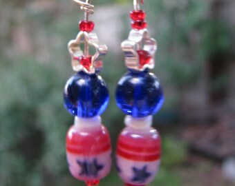 Patriotic Vote Veterans Day Independence Flag earrings