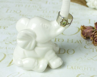 Elephant ring holder Lucky Elephant white jewelry Ceramic Ring Holder handmade pottery Elephant Decor unique gift for her under 25