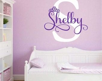Princess Crown Initial, Vinyl Wall Lettering, Vinyl Wall Decals, Vinyl Decals, Vinyl Lettering, Wall Decals, Princess Decal, Girls Room
