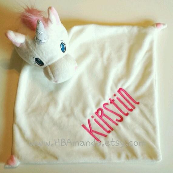 White UNICORN Lovie Blanket - White + Pink Monogrammed Unicorn Blankie
