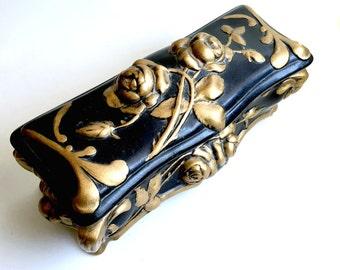 Black Rose Vintage Ceramic Box, Vintage Rose Covered Container, Black Gold Rose Trinket Box, Oblong Rose Trinket Box, Gold Rose Black Box