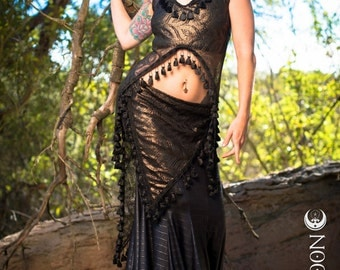 LAST ONE: The Sleeveless Antique Gold Willow Set with black tassels by Opal Moon Designs (Size S)