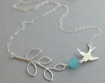 Sparrows Kiss,Bird Necklace,Aquamarine Necklace,STerling silver neckalce,Bird Jewelry,Branch Necklace,Branch,Bird,aqua,valleygirldesigns