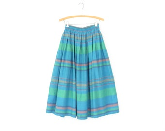 Vintage Linen Skirt * 80s Circle Skirt * Full Skirt * Blue Striped Skirt * Medium