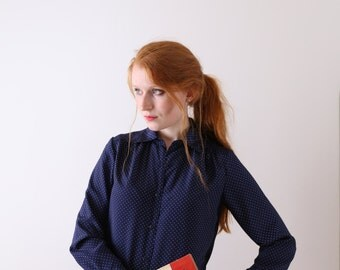 Nicole, deep navy blouse with dots, Japanese vintage, small