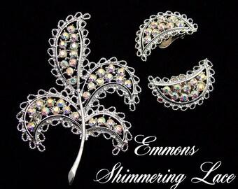 Emmons Vintage Brooch & Earrings Set Shimmering Lace, 1960s