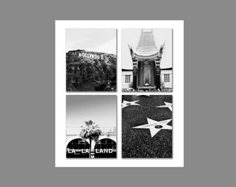 Hollywood Los Angeles Print Set Retro Office Decor Movie Travel Lovers Set of 4 Prints