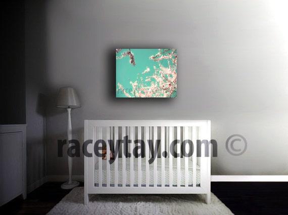 Girl Nursery Decor Canvas Art - Pink and Blue Pastel Bedroom Wall Art - 16x20 Canvas