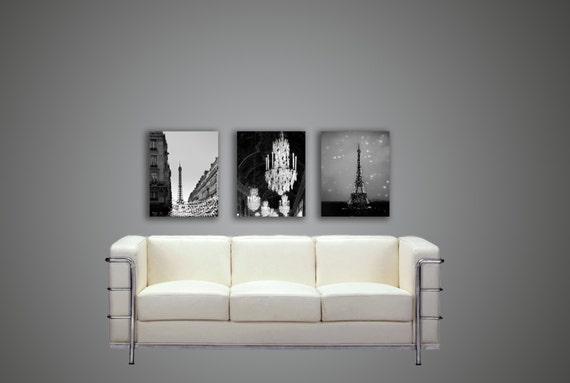 Paris Canvas, Black and White Canvas, Large Canvas Art, Eiffel Tower, Travel, Chandelier, Paris Wall Decor Set