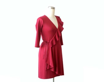 SALE, Ruffle Wrap Dress, Deep V neck dress, 3/4 Sleeve dress, Dress size Large, Size L, US 12-14, Ready to ship dress, SALE wrap dress