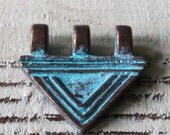 Mykonos Green Patina Beads - Jewelry Making Supply - Large 3 Hole Triangle Pendant - 24mm x22mm -  Made In Greece - Choose Amounts