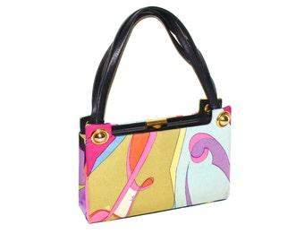 Vintage EMILIO PUCCI Silk Leather Handbag Kisslock Box Tote