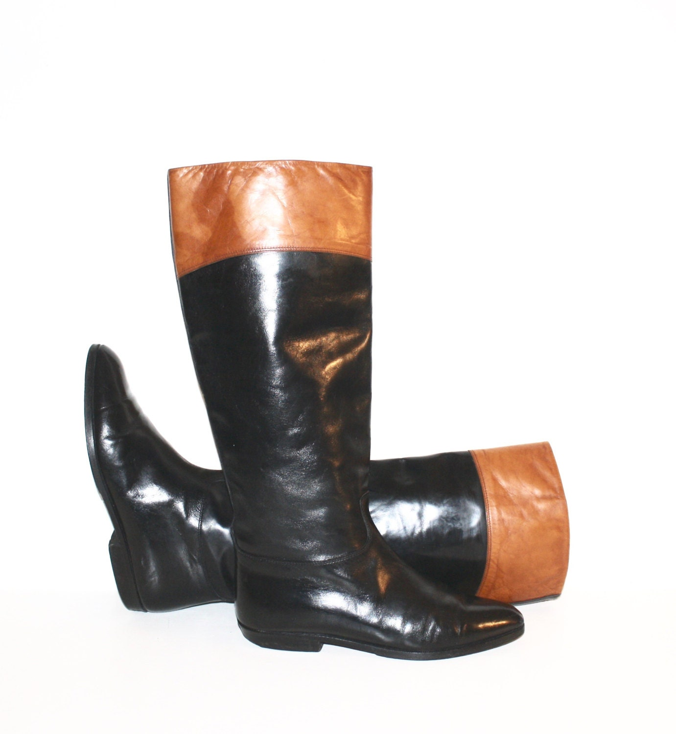 gucci vintage boots black brown leather size 38 5