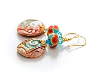 Colorful Lampwork Earrings. Tribal Charms. Boho Turquoise Earrings. Gypsy Ethnic Earrings. Glass Bead Jewelry.