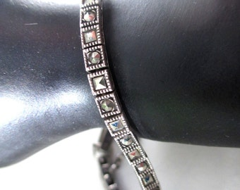 Vintage silver and marcasite bracelet, pretty and darkly sparkly, small and dainty beauty