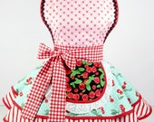 Womens Apron Retro Cute Vintage Pinup Strawberry Maltshop Diner Waitress Apron  Womens
