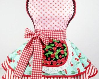 Womens Apron Retro Cute Vintage Pinup Strawberry Maltshop Diner Waitress Apron  Womens