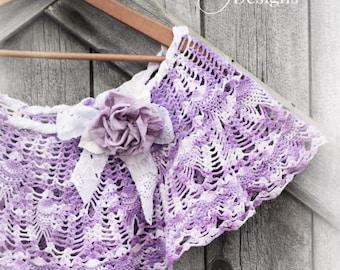 Chic Lace Capelet Lavender Purple / Crochet Lace Shrug Shawl Bohemian Wedding