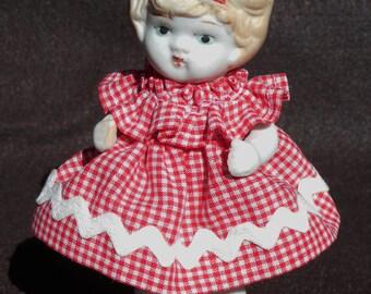 All porcelain - Vintage doll in dress - Made in Japan